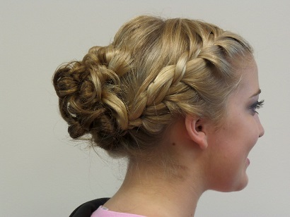 Headstrong Salon client with blonde braided up-do wedding hairstyle