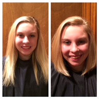 Cut - Highlights using color and cut into and inverted bob.