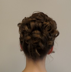 Brunette up-do with curls at Headstrong Salon in Yardley, PA
