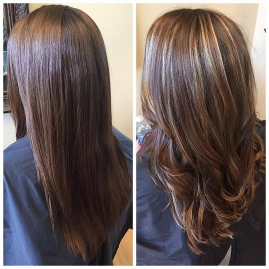 These balayage highlights gave her hair color a whole new dimension!