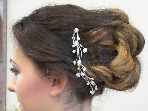 Brunette up-do with a decorative hair piece at Yardley, PA hair salon