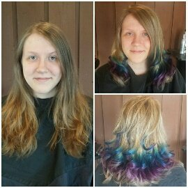 COLOR & CUT - An O'mbre effect was achieved here with beautiful peacock tones of teal, blue, & purple. Length was removed from the ends for a healthier appearance and long layers added.