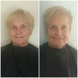 COLOR & CUT - A few highlights were added here over a slightly darker blonde to definition. removing the hair around the ears and removing some of the bulk throughout the top is what gave a more controlled tousled look with fringe that softens the look.