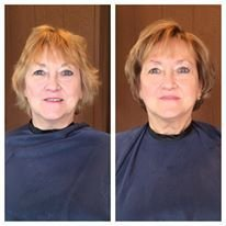 COLOR & CUT - Darkening the base color for blondes often enhances natural skin tones while highlights to brighten the over all look. We layered more around the bottom to reverse the weight distribution and give a more uplifting effect.