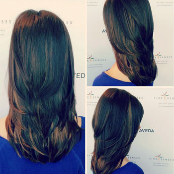 V-cut layers for long hair.