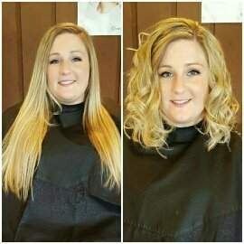 COLOR & CUT - We did highlights here to brighten and blend in the ends while still keeping a natural effect. As you can see with the cut, 12+ inches was removed from the length and long layers were added.
