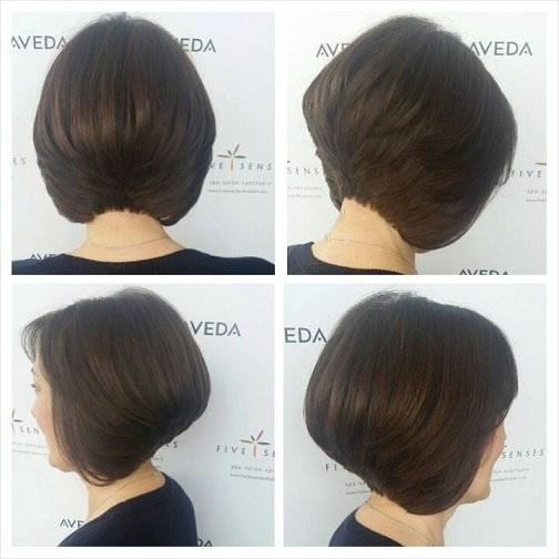 Michelle got a new stacked bob by our master stylist, Melissa!