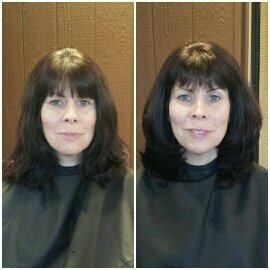 COLOR & CUT - Sometimes a slight change in the tone of your hair color is all that is needed to enhance natural skin tones and eye color. Added layers around length created more volume for a fresher more youthful look.