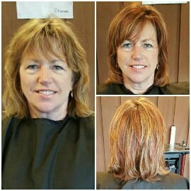 COLOR & CUT - This multi-color foil added dimension, texture, & depth without the commitment of all over color. It enhances & brightens her natural skin tones as well as her eyes. Her cut gives her style volume,accentuates her highlights, & illuminates her facial shape.