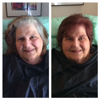 COLOR & cUT - What a difference this makeover made! This sweet women has been bed ridden and unable to leave her home to go to the salon so we brought the salon to her. She was amazed how different she looked and felt. It days like this that remind me why I started in this industry, to help people feel better about themselves!!!