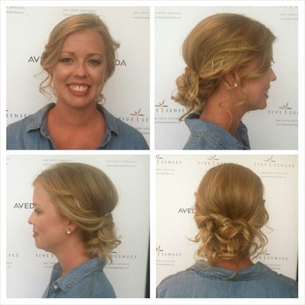 Sarah's beautiful wedding hair by one of our stylists and makeup by Jaymie!