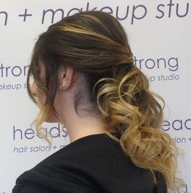 Headstrong salon client with up-do wedding hairstyling in Yardley, PA