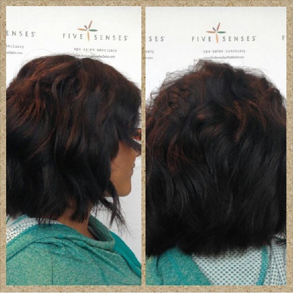 KeAndra with a subtle angel medium length cut by Lyssa!