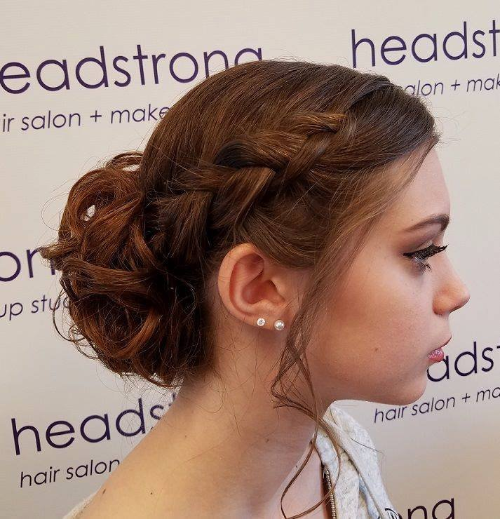 Red ombre hair with braided up-do bridal hairstyle in Yardley, PA
