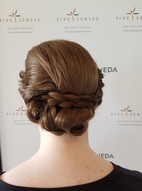 Sleek, braided bridal up-do