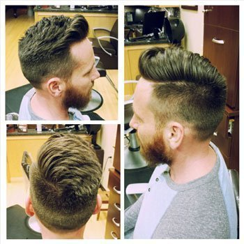 Short pompadour fade with a hard part!