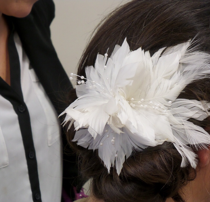 Side up-do with a decorative flower at Headstrong Salon in Yardley, PA