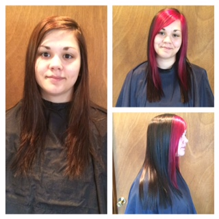 COLOR - This client came in with a warm golden brown and wanted something with pizzazz. We decided on a cool med brown with magenta.