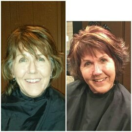 COLOR & CUT - The colors of Fall were our inspiration for this color. Mutilple colors were used  to create this textured look. We gave her a cut to enahnce her hair color and shorten her lenghth for a more youthful look.