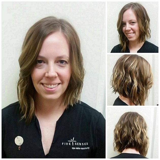 How adorable is this asymmetrical bob done by Melissa?