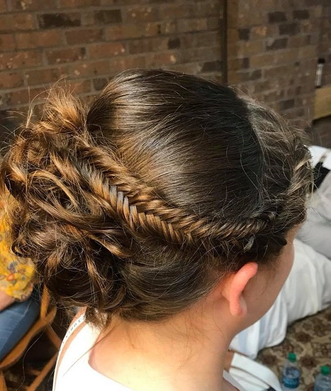 Bridal up-do pulled back with a fishtail braid!
