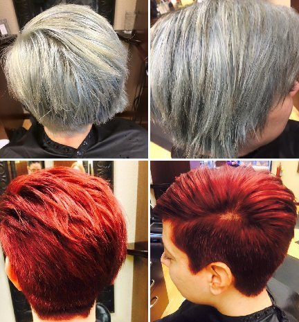 TOP: before; BOTTOM: after. After a corrective color and cut, Cristina was back to a vibrant red!