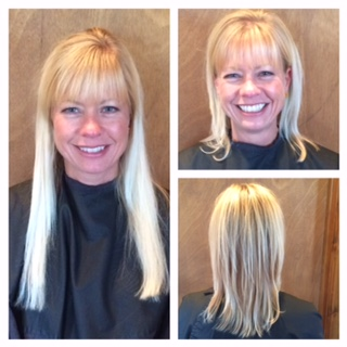 CUT - This client came in with extensions in to help create more volume to her  fine hair and to give some length. After wearing extensions for 5 years, she decided she wanted to try a style without extensions. We cut her length significantly and gave her some long layers to add fullness and volume. She was amazed at how thick her hair looked without the extensions.