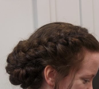 Headstrong Salon client with brunette braided bridal hair in Bucks County, PA