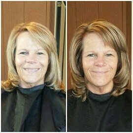 COLOR & CUT - Woodsy hued lowlights were the inspiration for this color. The results were a more natural look while enahncing the clients own natural skin tones & eye color. With the cut, we added more layers around the bottom of the style to create more volume from her chin down.