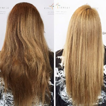 Mandy lightened her hair with a heavy highlight. This is a great look for the spring!