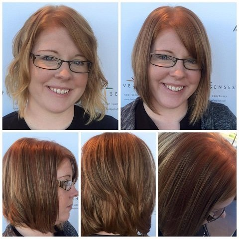 Two colors of highlights on Lyssa's hair by our stylist, Jailyn!