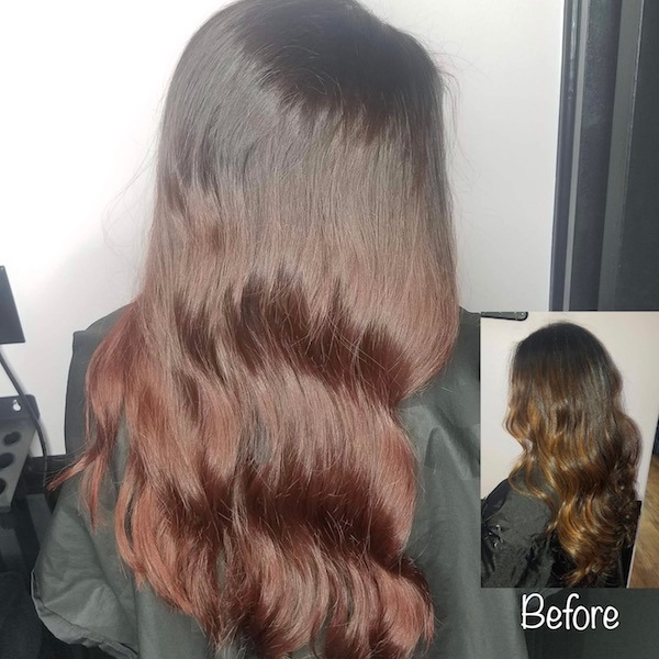 Before & After Burgundy Balayage