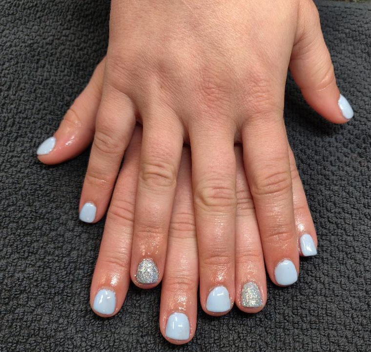 Acrylic Overlay and Shellac Manicure by Tiffany