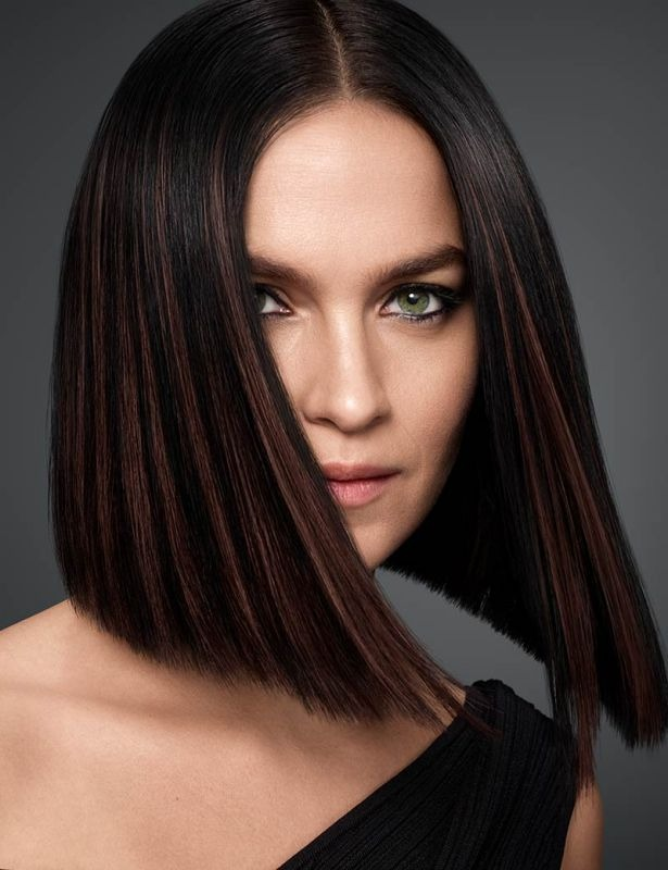 Dark Brown Lacquered Haircolor with Chocolate Babylights