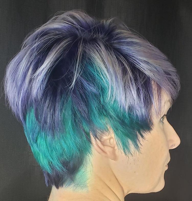 Blue Fashion colored pixie